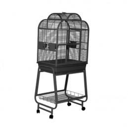 Cage HARI à toit ouvrant pour perroquets, noir et gris argenté antique